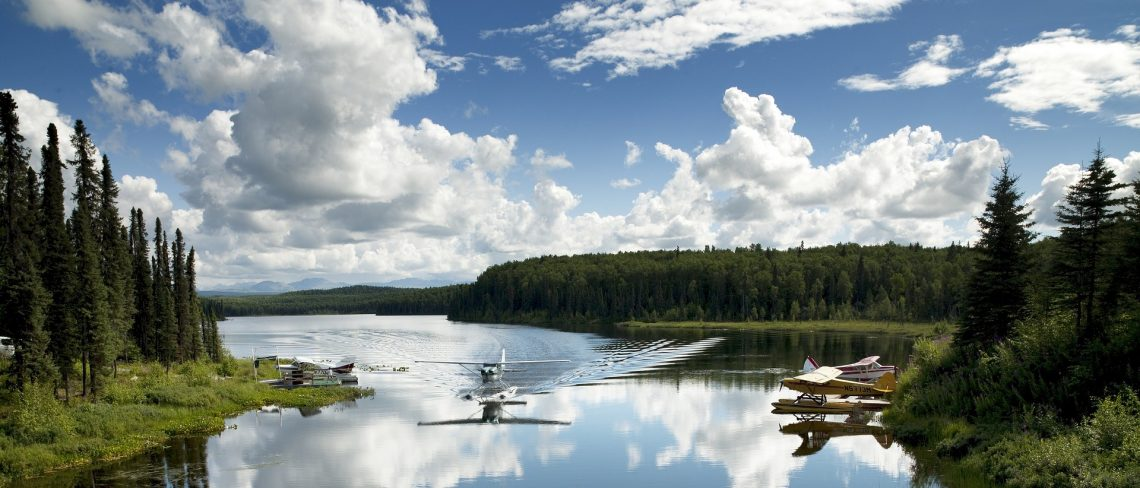 Float planes used to fly-in to remote fishing locations